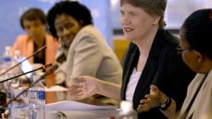 Helen Clark at a meeting