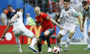 Andrés Iniesta struggled for influence against Russia as his side, champions in 2010, departed at the last-16 stage.