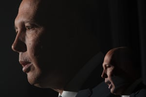 Home Affairs minister Peter Dutton. Double exposure.