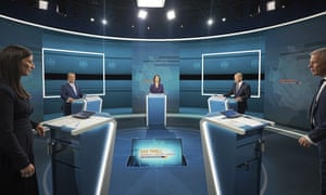 Candidates for chancellor from left, Armin Laschet, Annalena Baerbock and Olaf Scholz stand before the broadcast in the TV studio in Berlin, 29 August.