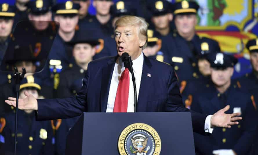 Donald Trump speaks to police and crime victims in Long Island.