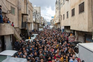 Amman, Jordan Palestinian refugees shout slogans against the so-called 'deal of the century' – Donald Trump's Middle East Peace Plan – during a protest at the Al-Baqa'a refugee camp