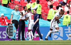 Sterling is congratulated by Gareth Southgate as he leaves the pitch