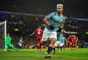 Sergio Agüero celebrates rifling in the opening goal from an acute angle.