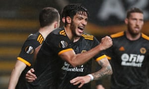 Raúl Jiménez celebrates scoring for Wolves in their 3-3 Europa League draw against Braga in Portugal.