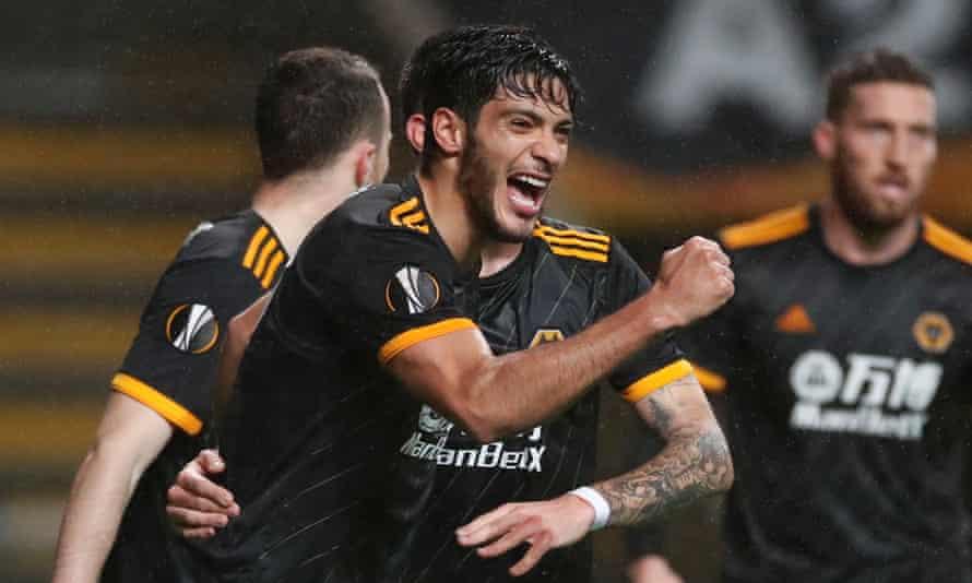 Raúl Jiménez celebrates scoring for Wolves in their 3-3 Europa League draw against Braga in Portugal.