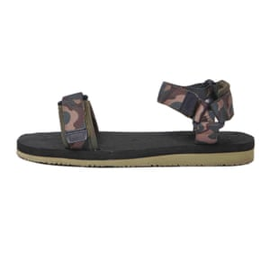 brown and beige camouflage hiking sandals River Island