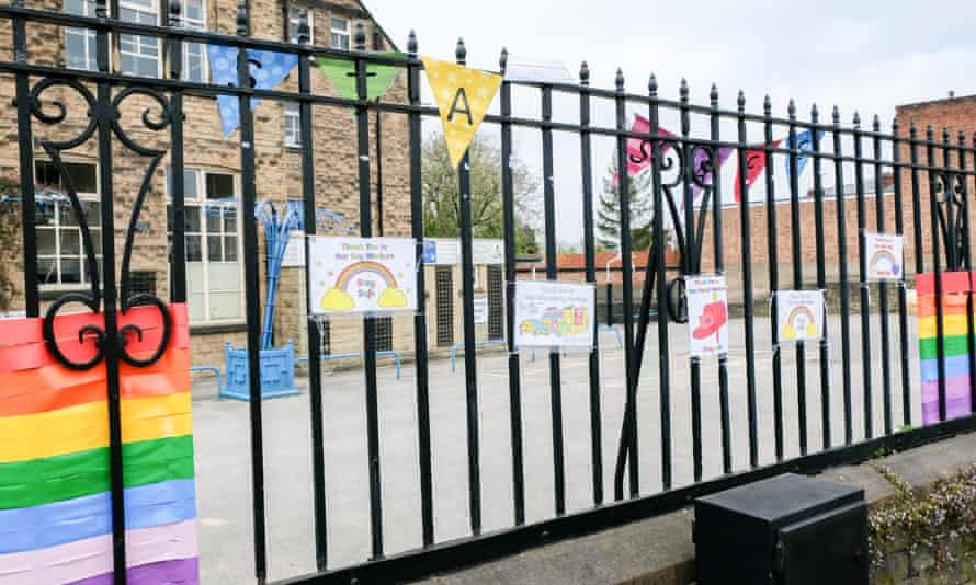 Messages of support for key workers outside a primary school during the coronavirus outbreak