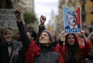 People shouts slogans during the Women's March rally in Barcelona, Spain