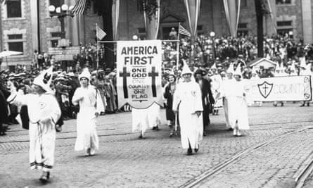 A Ku Klux Klan parade in Binghamton, New York, in the 1920s.