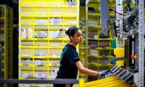 Woman working at Amazon warehouse