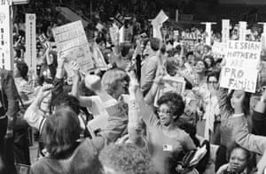 Delegates in the New York section cheer the passing of a resolution supporting the Equal Rights Amendment at in Houston in 1977.