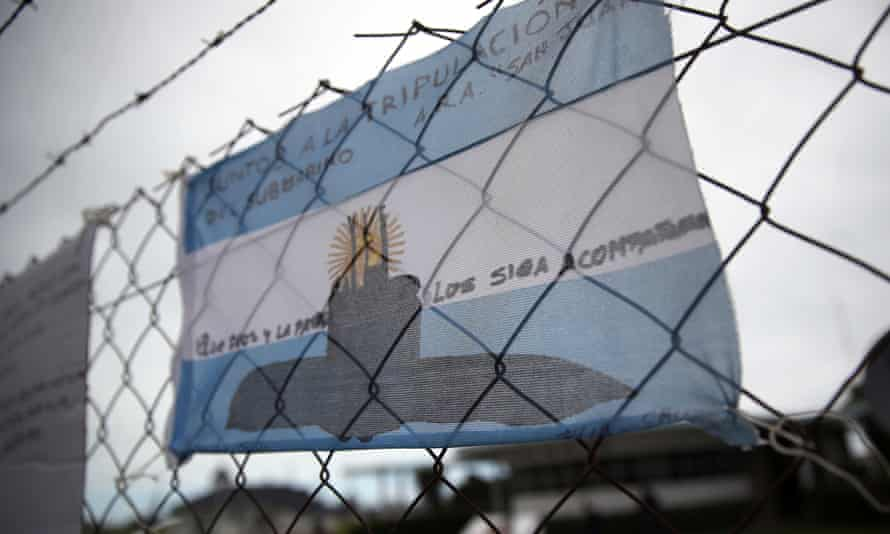 An Argentinian national flag with messages in support of the 44 crew members of the missing ARA San Juan submarine at the Mar del Plata naval base.