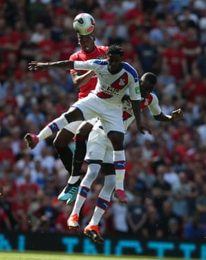 Manchester Unites Paul Pogbachallenges Jeffrey Schlupp and Cheikhou Kouyate, both of Crystal Palace. Palace won the game 2-1, their first victory at Old Trafford since 1989.