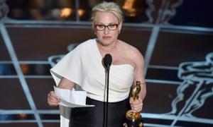 Patricia Arquette during her 2015 Oscar acceptance speech.