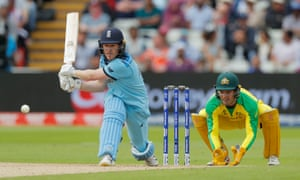Eoin Morgan reverse sweeps to help England canter to victory over Australia and reach Sunday's World Cup final.