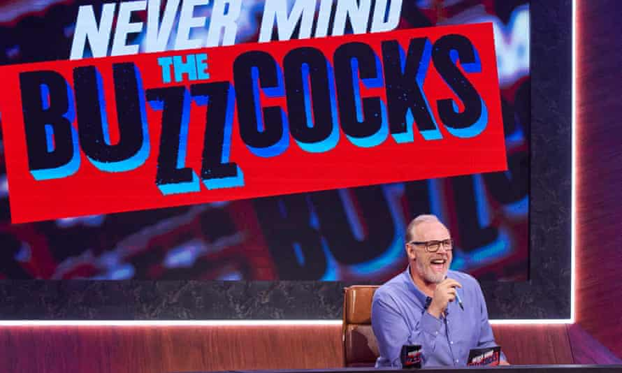 Greg Davies chairing the new version of Never Mind the Buzzcocks.