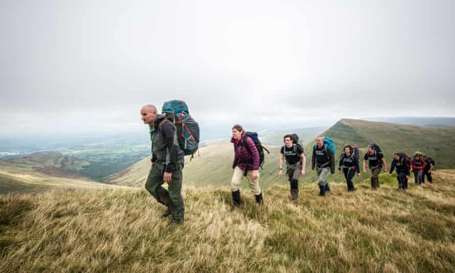 Secret Compass trekkers approach the summit of Pey y Fan.