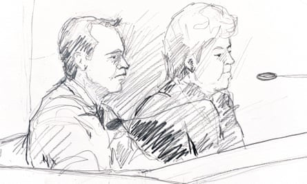 Courtroom sketch of Martin Peter Trenneborg next to his lawyer, Mari Schaub.