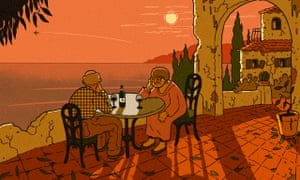 Illustration, of elderly couple drinking wine in Mediterranean home as sun sets, by R Fresson