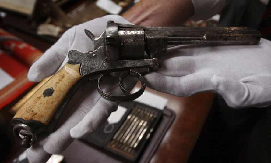 An 1800s revolver that entrepreneur, gambler and lawman Wyatt Earp kept in the Oriental Saloon in Tombstone.