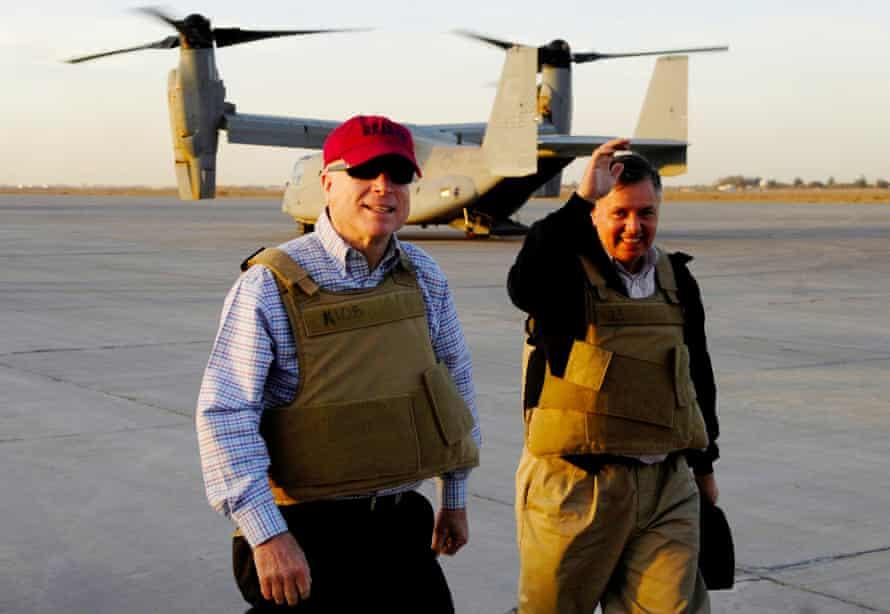 John McCain and Graham at Sather Air Base in Baghdad, March 2008.