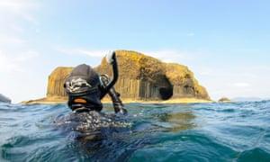 Snorkelling near Fingals cave!, Hebrides. Basking Shark Scotland