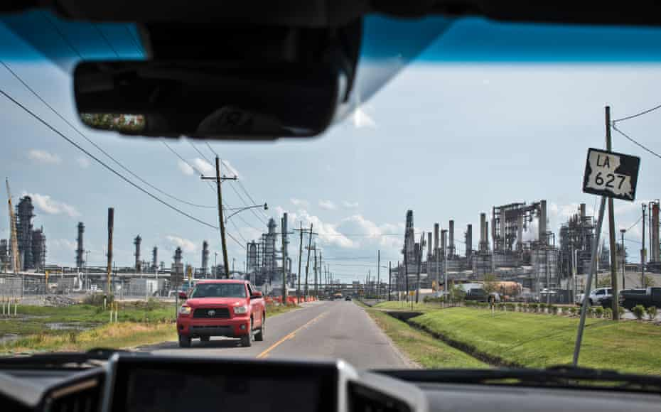 Passing through a Valero plant in Norco, Louisiana.
