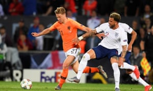 Frenkie de Jong (left) leaves England's Kyle Walker standing on a night when the Netherlands player had the run of midfield.
