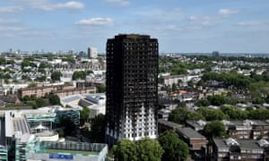Burned out Grenfell Tower.
