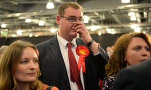 Disappointed Labour party supporters listen to Labour MP Caroline Flint speak at Doncaster Racecourse
