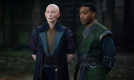 The Ancient One (Tilda Swinton) and Mordo (Chiwetel Ejiofor) in Doctor Strange.