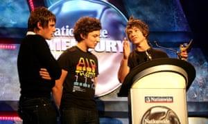 Arctic Monkeys look surprised by their 2006 victory