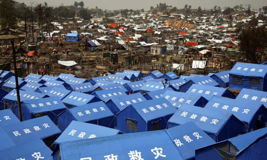 Tents donated by China in Cox's Bazar, Bangladesh, 24 March 2021.