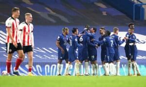 Chelsea's Thiago Silva (centre) celebrates scoring his side's third goal of the game.