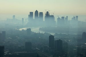 Early morning heat haze over the City of London.