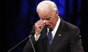 Joe Biden wipes a tear away while giving a tribute at North Phoenix Baptist church on 30 August.