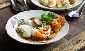 Fish noodle soup (mohinga) by MiMi Aye.