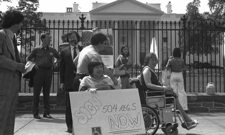 Judith Heumann fighting for disabled people's rights at the 504 sit-in protest in San Francisco in 1977, from the Netflix documentary Crip Camp