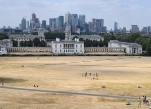 Greenwich, UK: A view of the parched Greenwich Park in London