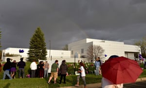 Fans pay respect at Paisley Park in Minneapolis.