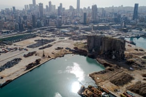 The destroyed port area six months after a huge stockpile of ammonium nitrate fertiliser exploded on the Beirut dockside, killing 200 people and ravaging a large part of the city.