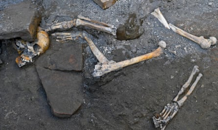 Remains found by archaeologists in a house in Pompeii.