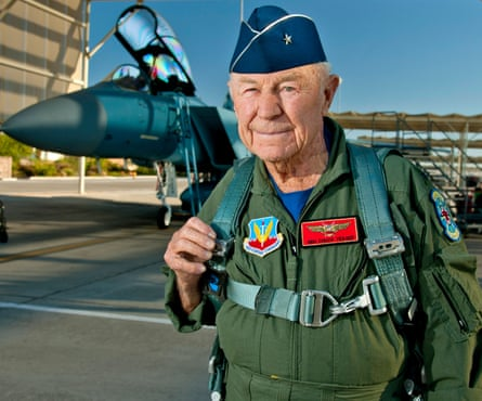 Yeager preparing to board an F-15D Eagle fighter plane in 2012.