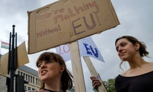 British young people protest against leaving the EU, in Berlin on Saturday