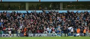 Matt Targett of Aston Villa celebrates scoring the winning goal