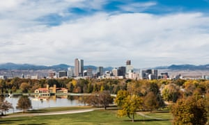 Denver seen from City park, with the Colorado Rockies in the background. US