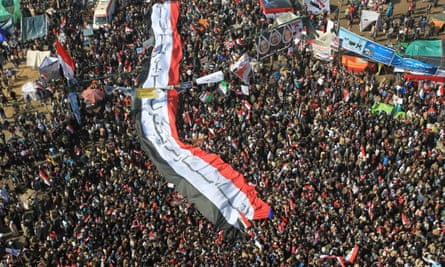 Tens of thousands of Egyptians mark the first anniversary of the uprising that toppled Hosni Mubarak.