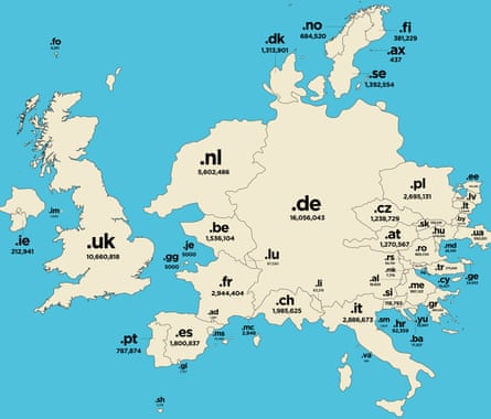 A close up of Europe on an alternative map of the world that scales countries according to the number of internet domains registered to their code