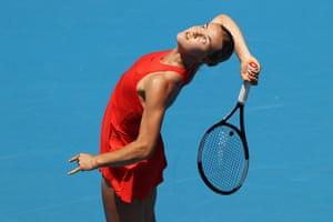 Anna Karolina Schmiedlova serves during her first round 3-6, 5-7 defeat to Belinda Bencic